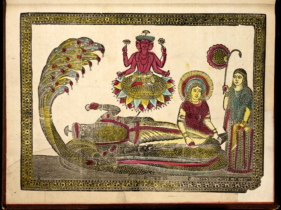 Sri Padmanabha; Vishnu, lying on a snake with his consort, Lakshmi